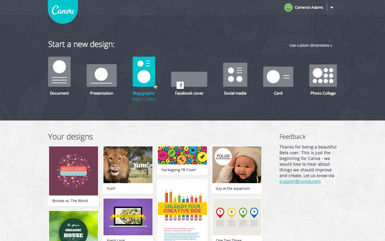 Canva.com User Homepage Screenshot