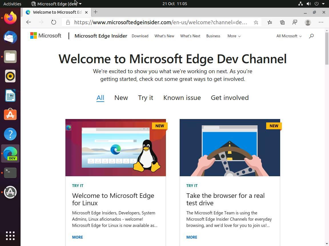 Microsoft Edge pour Linux